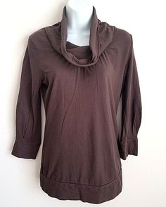 MOSSIMO BROWN COWL NECK 3/4 SLEEVE KNIT SHIRT TOP MEDIUM #Mossimo #KnitTop