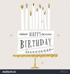 Cute Happy Birthday Card With Cake And Candles. Vector Illustration - 377625262 : Shutterstock