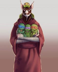 Splinter and sons TMNT. (Quite adorable, but I'll save you my usual spiel. Teenage Ninja Turtles, Ninja Turtles Art, Ninja Turtles Splinter, Turtle Tots, Arte Do Harry Potter, Tmnt Comics, Tmnt 2012, Fan Art, Manga