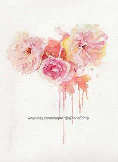 Peonies / 8 x 10 fine art watercolor print by ArtByDianaToma, $30.00