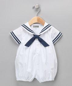 5c1fc75ec8ca Petit Confection Petit Confection White & Navy Sailor Bubble Romper - Infant