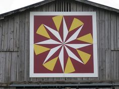 Mariner's Compass - The Kentucky Quilt Trail (and Iowa State University colors) Quilt Square Patterns, Barn Quilt Patterns, Square Quilt, Barn Quilt Designs, Quilting Designs, Star Quilts, Quilt Blocks, Painted Barn Quilts, Block Painting