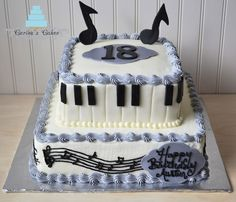 Carisa's Cakes: Two Tiered Piano Cake do this cake, but without the second tier. in one of the corners, put a mini grand piano. write happy birthday, and scatter roses on the top. for the sides, do every other side music staff, and piano keys.