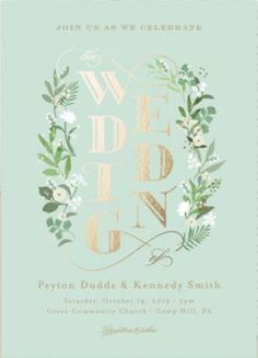Rustic Greenery Wedding Invitations - Botanical Wedding Invitations - Foil-Pressed Wedding Invitations #rusticweddings #rusticweddinginvitations #foil-pressedweddinginvitations