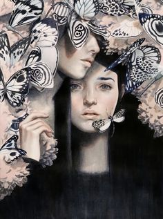 Woman, mystery, face peering through butterflies: Painting by Tran Nguyen
