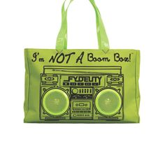 Little Black Bag   Green I am not a Boom Box Stereo Tote by Fydelity  //  gift