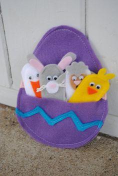 Easter Finger Puppets via Etsy- I like the Easter egg pouch for storage