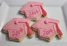 Pink Glitter Sugar GRADUATION CAP school colors decorated sugar cookie party favors by PalmBeachPastry, $42.00