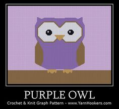 Graph PATTERN Purple Owl  Afghan Crochet Graph by YarnHookers, $5.00