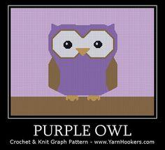 Graph PATTERN Purple Owl  Afghan Crochet Graph by YarnHookers, $5.00