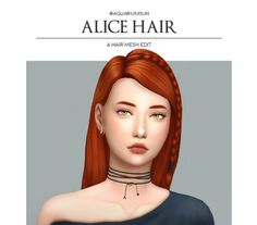 """aquarius4sun:  """" Alice Hair - a hair mesh edit  • comes in EA default colors.  • base game compatible  • not hat compatible  •  do not claim as your own ;)  •  back view  """"download  """" """""""