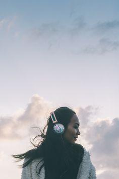 Ankit Pastel Peach Floral Headphones