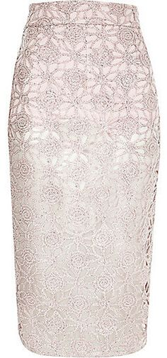 River Island Womens Pink lace overlay pencil skirt