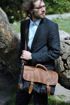 Canvas Tasche Umhängetasche Leder Tasche Messenger von KettyLong - 120€
