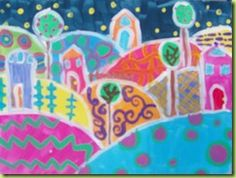Karla Gerard Inspired Painting. Construction paper shapes used to create overlapping hills., trees, and houses provide depth. Construction paper crayons or cray-pas used to create differing patterns on the hills, houses, and trees.