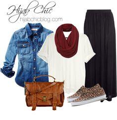 Hijab Fashion: Leather satchel bag