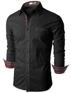 Doublju Mens Long Sleeve Button Down Dress Shirt (KMTSTL0160) #doublju   Raddest Men's Fashion Looks O