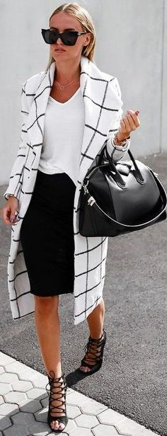 #fall #stylish #outfits | Checkered Coat + Black and White