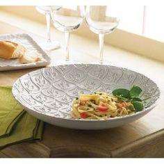 Large Ceramic Fleur-de-Lis Pasta Serving Bowl