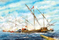 """Lepanto, The Venetian galleasses break up the Turkish battle line"", Tony Bryan Naval History, Military History, Battle Of Lepanto, Spanish War, Spanish Armada, Nautical Art, Ship Art, Historical Pictures, Wooden Ship"