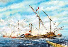 """Lepanto, 1571: The Venetian galleasses break up the Turkish battle line"", Tony Bryan"