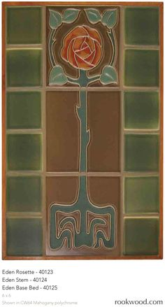 Eden Rosette - Arts & Crafts rose tile mural by Rookwood Pottery