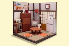 Japanese Living Room Diorama Papercraft Free Template Download