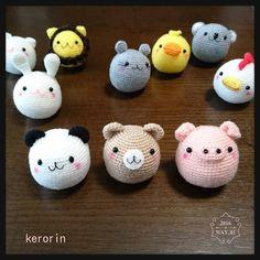 パンダクマブタのミニまる完成 #amigurumi #handmade #knitting #crochetdoll #あみぐるみ #ハンドメイド #編み物 #けろりん by kerorin703