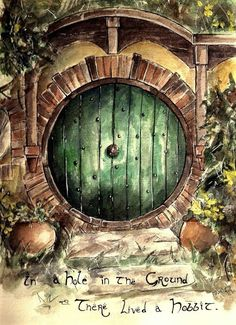 Watercolour Drawing idea hobbit hole