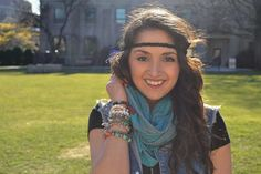 Turquoise and Gray Burnout Infinity Scarf for Women