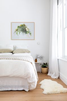 White on white walls curtains and linen make for the perfect backdrop for a bold artwork in Gretchen Houstons Girls Bedroom, Master Bedroom, Bedrooms, Style At Home, Go Your Own Way, Coastal Living Rooms, Beautiful Villas, Family Room Design, Prefab Homes