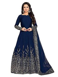 3332bfca69b This is Beautiful navy blue Embroidered Semi Stitched Gown for Women  s and  Girl