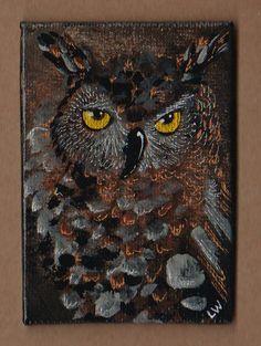 LWick Original ACEO madness99 special art event bird night owl golden eye