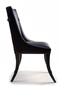 Belted dining chair - Navy blue vinyl dining chair with belt detail to the back and curved skinny gloss legs.