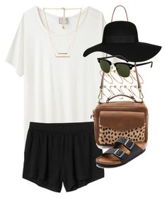 """outfit for a summer vacation"" by im-emma ❤ liked on Polyvore featuring Base Range, ASOS, Monki, Madewell, Topshop, Birkenstock, Rayban and Forever 21"