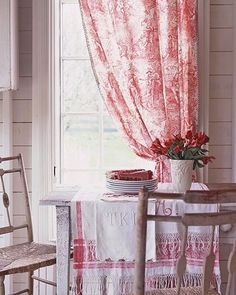 lovely toile. Falling in love with red & white.