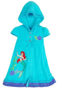 05bc0e5795 Disney Store Girls Little Mermaid Princess Ariel Hooded Swimsuit Cover Up ( Size XS 4)