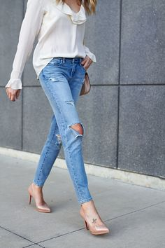 fashion-jackson-blanknyc-destructed-jeans--anine-bing-ruffled-blouse-nude-louboutin-heels