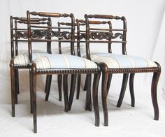 Set Of Six Regency Faux Rosewood Dining Chairs - Antiques Atlas