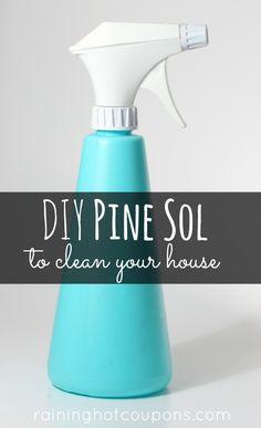 DIY Pine Sol:  Plastic Spray Bottle; 2 Cups Of Water; 8 Drops of Pine Scented Oil; 4 Drops Of Cedar Scented Oil; 2 Teaspoons Of Borax