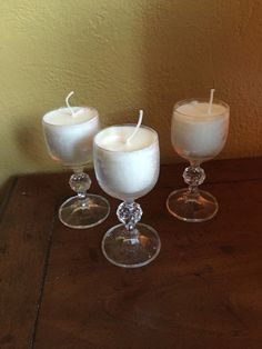 Set of 3 vintage glassware cordial glass vanilla soy wax candle by VendimioCollective on Etsy https://www.etsy.com/listing/456661314/set-of-3-vintage-glassware-cordial-glass