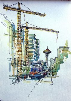 a. Architectural render – Hand Drawn/Painted/other urban sketchers seattle | Urban Sketchers: 08/09/12