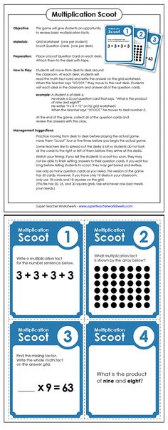 "This fun ""Scoot"" game will give students the opportunity to practice multiplication skills by answering questions as they move around the room. What a great way for teachers to involve the whole class in an exciting game while reinforcing classroom math skills!"