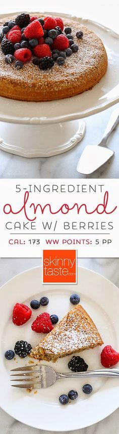 5-Ingredient Almond Cake with Fresh Berries! A delicious gluten-free option that looks beautiful :-)