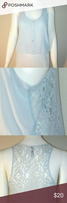 H&M Sky blue lace back top. Sky blue top. The back of the top is all lace bust is 20inches and the length is 26. H&M Tops