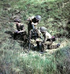 Canadian mortar team in action in France c. 1944.