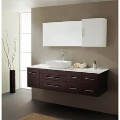 "WHITE, different sink Virtu USA Justine 59"" Single Sink Bathroom Vanity - Espresso | Free Shipping $1159"