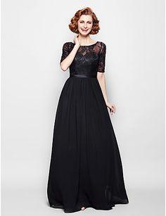 A-line Plus Sizes / Petite Mother of the Bride Dress - Black Floor-length Half Sleeve Chiffon / Lace – USD $ 99.99