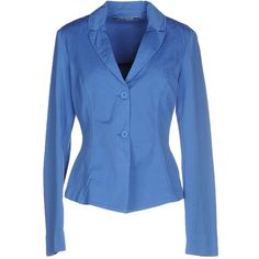 European Culture Blazer ($59) ❤ liked on Polyvore featuring outerwear, jackets, blazers, azure, single breasted jacket, two button blazer, blue blazer jacket, european culture and blue jackets