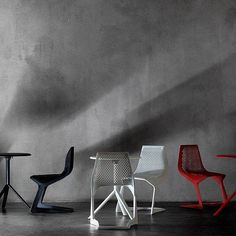 The stacking Myto Cantilever Chair was designed by Konstantin Grcic for Plank in the year The Myto Cantilever Chair by Plank is a stacking chair that exp Cantilever Chair, Stacking Chairs, Plank, Dining Chairs, Furniture, Design, Home Decor, Bulletin Boards, Decoration Home